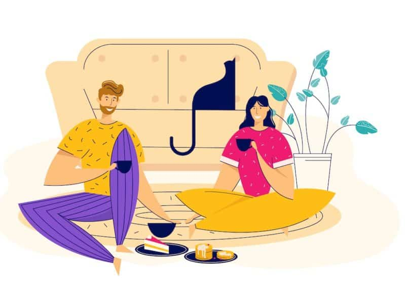 man and woman having a date at home