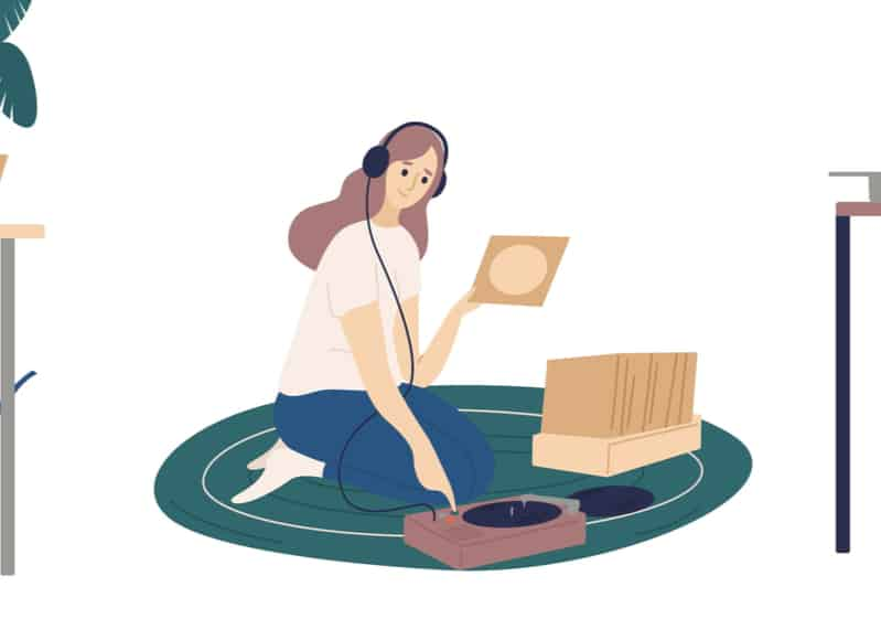woman-listening-to-record-player-chronic-pain-playlist