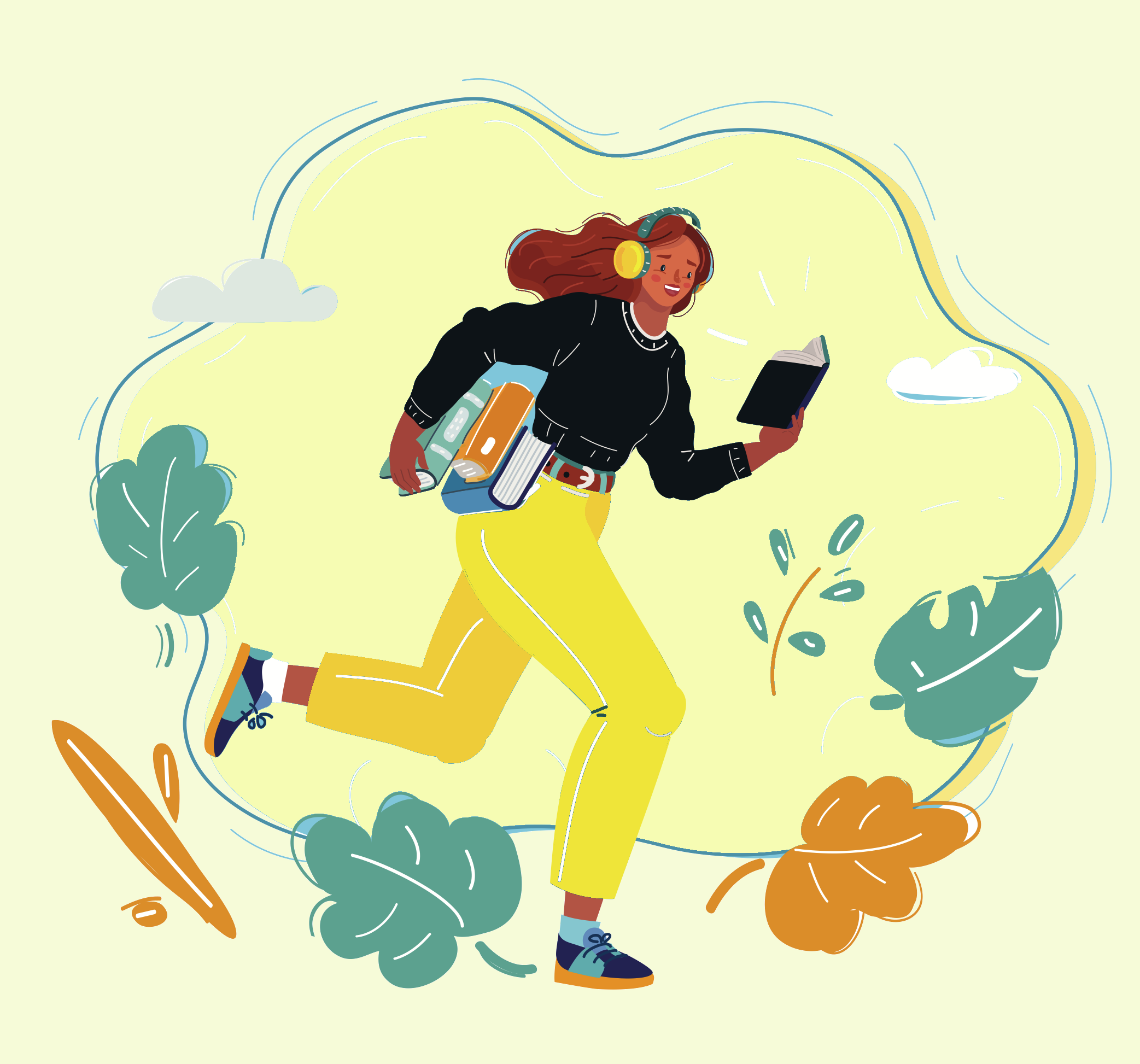 woman-jogging-reading-listening-to-music